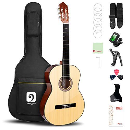 Vangoa 4/4 Konzertgitarre 39 Zoll Akustische Klassische Spanische Gitarre mit Tragetasche, Anfänger Kits, Natürliche