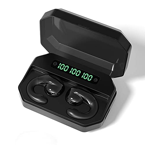 N\C Ear Button Semi-in-Ear Bone Conduction Ultra-Low Latency Fast Charge Voice Control Game Bluetooth 5.0 Wireless Binaural Stereo Call Music Headset LED Display Sports IPX7 Waterproof Headset