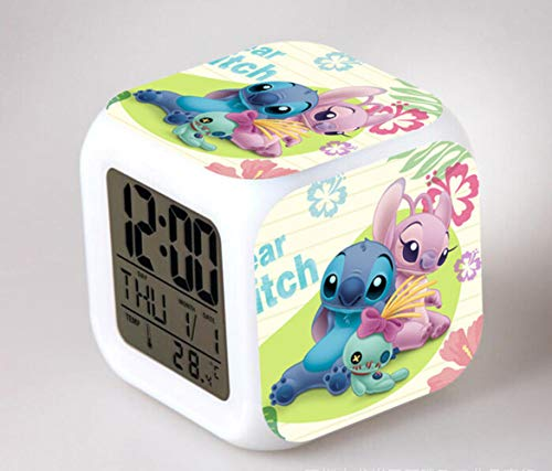 NXSP Cartoon LED,7 kleuren Flash Digitale wekker kinderen nachtlampje horloge