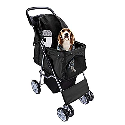 Display4top Pet Travel Stroller Dog Cat Pushchair Pram Jogger Buggy With 4 Wheels (Black) 1