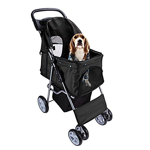 Display4top Pet Travel Kinderwagen Hund Katze Kinderwagen Kinderwagen Jogger Buggy mit 4 Rollen (schwarz)