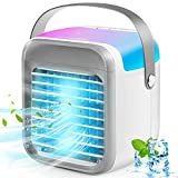 JulyPanny Portable Air Conditioner, Mini Cordless Compact Air Cooler, Energy Efficient Air Cooler with 3 Speeds 7 Colors, Portable Ac Air Conditioner for Bedroom, Car, Camping, Office, Tent