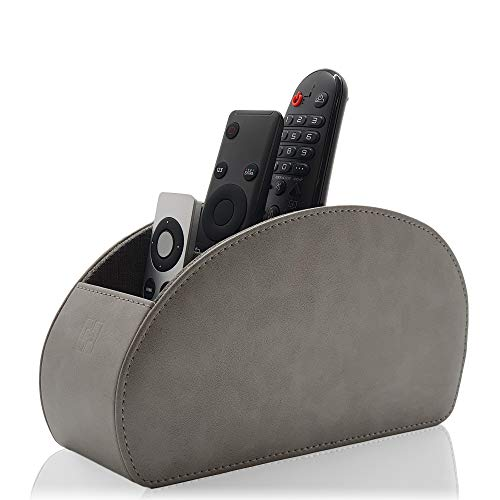 Remote Control Holder by Connected Essentials  Gray TV Remote Organizer with 5 Spacious Compartments