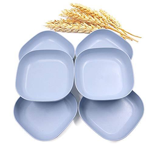 6 platos cuadrados ligeros de paja de trigo de 14,5 cm, platos de cena profunda, vajilla de camping para servir pasta de frutas para niños pequeños y adultos (azul)