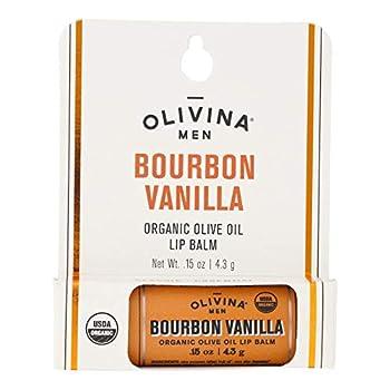 Olivina Men Organic Olive Oil Lip Balm Bourbon Vanilla 0.15-Ounce  VBPUKPPAZIN3086