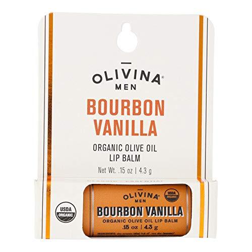 Olivina Men Organic Olive Oil Lip Balm, Bourbon Vanilla, 0.15-Ounce...