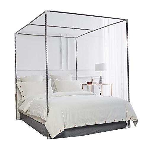 HOXMOMA Moskitonetzhalter Vier Eckbett, Edelstahl Baldachin Moskitonetz Baldachin Rahmen, Bettüberdachung, Gestell für Twin/Full/Queen/California King/King Size Bett,25mm,1.5×2m Bed