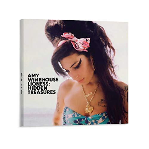 XIAOGEGE Amy Winehouse Lioness Hidden Treasures Singer-Songwriter Music Canvas Wall Art Prints Poster Gifts Photo Picture Painting Posters Room Decor Home Decorative 16x16inch(40x40cm)