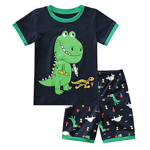 SFreeBo Pigiama Corto Bambino Estivo Pigiama Ragazzo Cotone Pigiama 2 Pezzi Pigiama Dinosauro Bambino 2-3 Anni