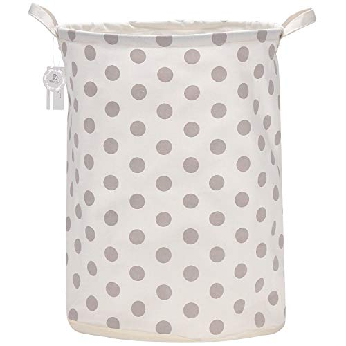Sea Team 19.7 Inches Large Sized Waterproof Coating Ramie Cotton Fabric Folding Laundry Hamper Bucket Cylindric Burlap Canvas Storage Basket with Stylish Stars Design (19.7', Grey Star)