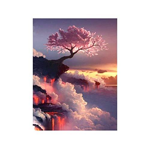 Canvas schilderij als decoratie van de woonkamer met roze boom op de helft 60X40cm No Frame 03