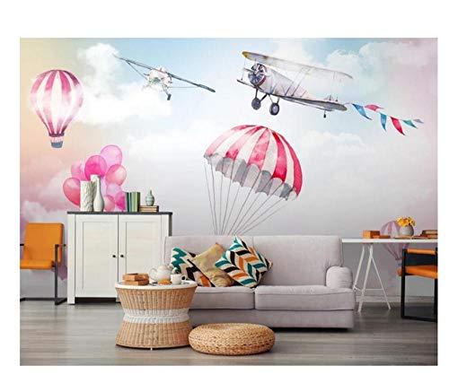 Cafetería 3D nórdico moderno simple dibujos animados pintados a mano europeo puro y fresco contraído cielo cromático plano globo aerostático salón dormitorio ajuste-4
