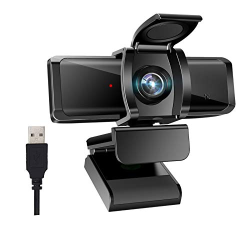 Webcam with Microphone (Noise Cancelling) 1080P Full HD Privacy Cover USB Driver Adjustable Focus for Desktop Computer Gaming Live Streaming Video Conference Zoom Meeting Web Camera