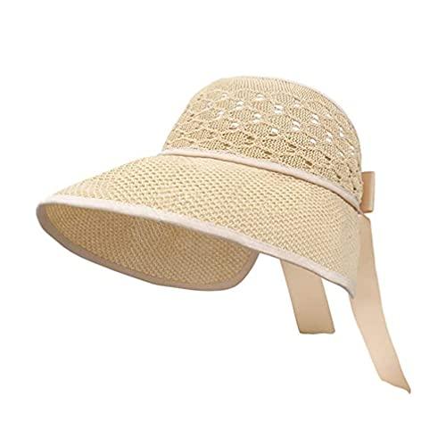 SOIMISS Mujer Sombrero de Ancho Visor de Paja Floppy Sombrero de Playa de UPF Rollo de Viaje Aire Libre de Verano