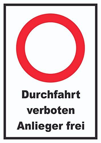 HB-Druck Durchfahrt verboten Anlieger frei Schild A3 (297x420mm)