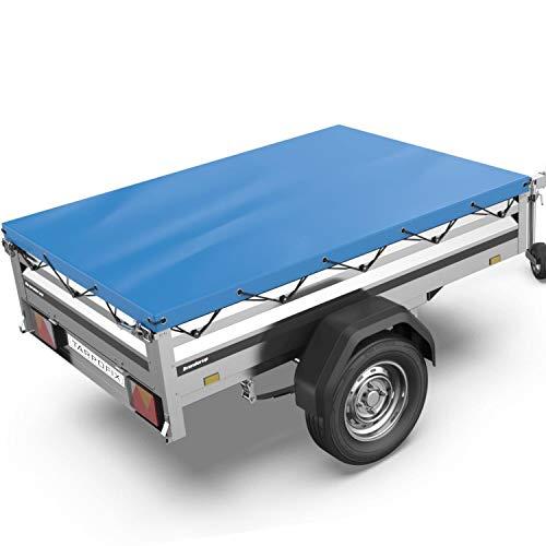 Tarpofix® Anhängerplane Flachplane 212 x 123 x 7,5 cm - randverstärkte Anhänger Plane (blau) - langlebige Anhänger Abdeckplane - Ideal passend für Brenderup Kippi 200 & 1205 PKW Anhänger 750 kg I FP10