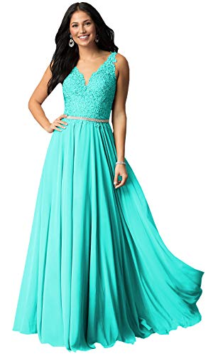 Plus Size Bridesmaid Dresses Long for Women V Neck Lace Beaded Chiffon Formal Prom Gowns (Turquoise,16W)