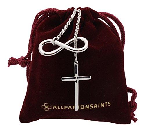 All Patron Saints Infinity Croix Collier Argent Sterling avec Ensemble Cadeau