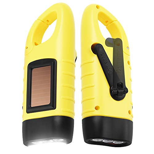 Simpeak [ 2-Pack] Hand Crank Flashlight, Solar Powered Rechargeable Survival LED Flashlight for Outdoor Sports, Yellow