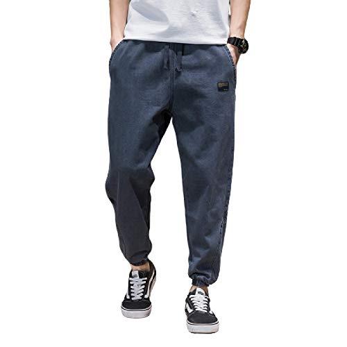 Pantalones Vaqueros para Hombre Primavera cordón Cintura elástica Vaqueros Sueltos Hip-Hop Casual Harem Jeans M