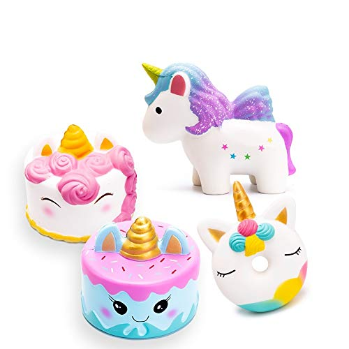 SYYISA Squishies 4 Pcs Jumbo Slow Rising Squishies Kawaii Colored Unicorn, Unicorn Donut, White Unicorn Mousse Cake and Blue Narwhal Cake Creamy Scent for Kids Party Toys Stress Reliever Toy - 4 Pack