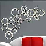 Cerchi Adesivo Murale Decorazione Domestica Adesivi Murali Specchio Per Tv Sfondo Decorazioni Per La Casa Decorazioni Per Pareti In Acrilico 24Pcs / Set 3D Fai Da Te