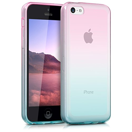 kwmobile Hülle kompatibel mit Apple iPhone 5C - Handyhülle - Handy Case Zwei Farben Pink Blau matt
