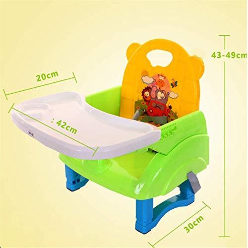 XZHU Multi-Funktions-Feeding-Stuhl für Kinder Abendessen Stuhl mit Tablett Feeding Teller Tisch Baby-Zusatzsitz Hochstuhl Tragbare Klapp Anti-Rutsch Sicher Komfortabel,Grün