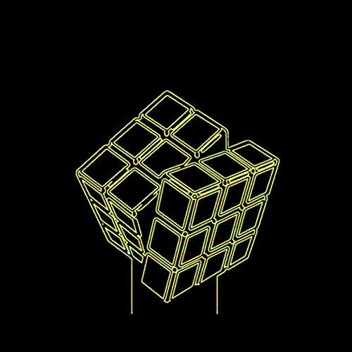 Led Creative Toy Toy Gift 3D Visual Rubik'S Cube Night Lights 7 Colorido USB Touch Button Lámpara De Escritorio