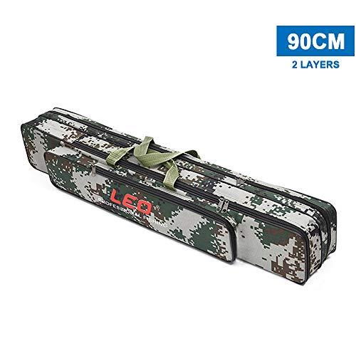 Explopur Sac de Moulinet pour Canne à pêche - Deux/Trois Couches 80cm / 90cm Pôle Pôle Tackle Tool Carry Case Carrier Fishing Cover Bag