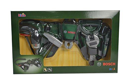 Theo Klein 8493 Bosch Werkzeuggürtel I Mit batteriebetriebenem Akkuschrauber Ixolino und zahlreichem Werkzeug I Maße: 76 cm x 24 cm x 4,5 cm I Spielzeug für Kinder ab 3 Jahren