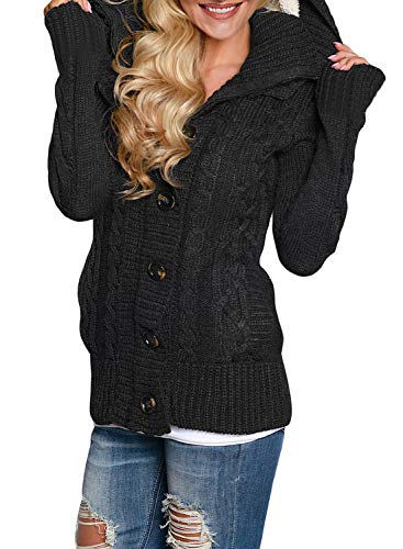 Fashion Shopping Sidefeel Women Hooded Knit Cardigans Button Cable Sweater Coat