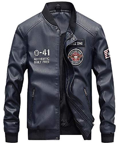 ChengZhong Mens Zipper Fashion Jacket Baseball Faux-Leather Stand Collar Coats 1 L