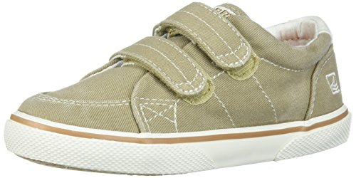 Sperry Kids' Halyard Hook and Loop Boat Shoe, Khaki, 9 W US...