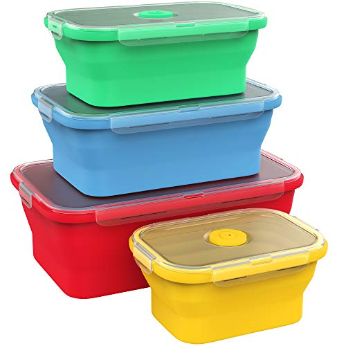 Vremi Silicone Food Storage Containers with BPA Free Airtight Plastic Lids - Set of 4 Small and Large Collapsible Meal Prep Container for Kitchen Lunch Boxes - Microwave and Freezer Safe