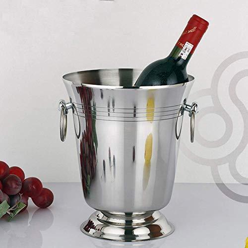 HIGHKAS Grand seau à Glace, refroidisseur vin Acier inoxydable Contant glaçons léger Barre bière fût Champagne Summer Party Champagne (5L)