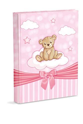 Mareli Fotoalbum, Rosa, Geburt für Mädchen, mit Tagebuch, 23 x 30 cm, 56 weiße Seiten und 4 Seiten, personalisierbar, dicke und robuste Kartonseiten