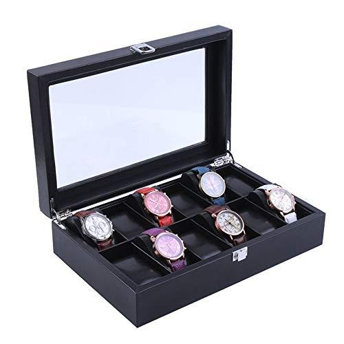 DHUYUN Watch Box 12 Watch Black Leather Box Case Display Organizer Storage Tray for Men Women Best Present (Color : Black, Size : S)