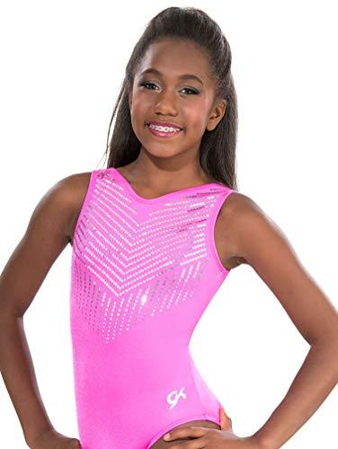 GK Girls Gymnastics Leotards Dance Ballet One Piece (CL, Pink Diamonds)