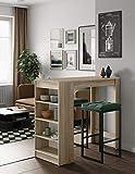 Temahome Table Bar Avec Rangements, Panneaux de Particules Melamines, Chêne, 115 X 50 X 102,7 Cm