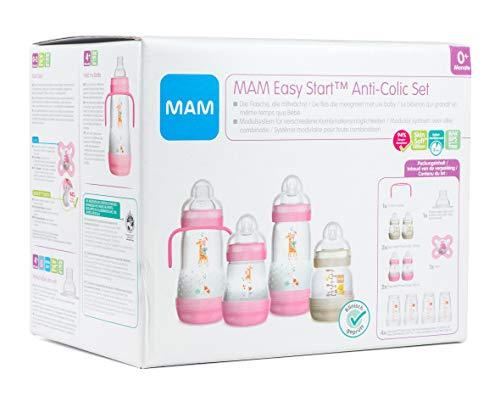 MAM Easy Start Anti-Colic Babyflaschen Set, mitwachsende Baby Erstausstattung mit Schnuller, Flaschen etc., Baby Geschenk Set, ab Geburt, rosa