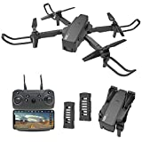 LE-IDEA Drones con Camara 2K HD, 3D Flips, Posicionamiento de Flujo óptico, Control de Gestos, Mini WiFi FPV Drones para Niños y Principiantes Drone para Interiores Exteriores (2 Baterías)
