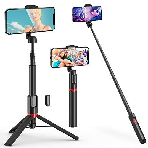 BAOLIDA Perche Selfie Bluetooth, 3 en 1 Trépied Smartphone 1.3M Selfie Stick Extensible avec Télécommande, Bâton Selfie pour iPhone12Pro/11Pro/XS/9/8/7, Samsung, Huawei, Xiaomi etc