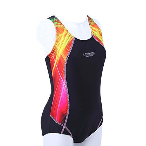 BYLIKE Girl Professional Competitive Racerback Swimsuit One-Piece Athletic Bathing Suit (128(5-6 Years Old), Black)