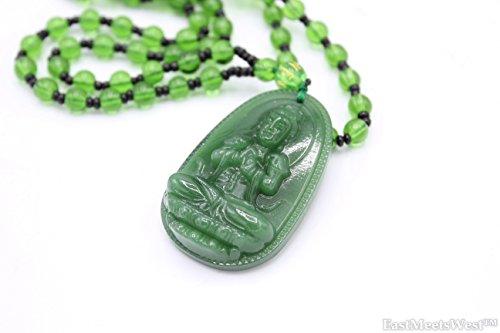 LUCKYCXJ Jadeite Chino Mercy Kwan Yin - Collar con colgante de citrino con diseño de Buda Guan Yin y Feng Shui