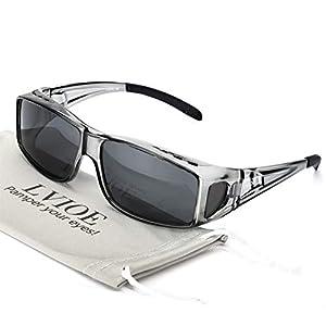 オーバーサングラス 偏光レンズ 偏光サングラス uv400 uvカット ドライブ ゴルフ 釣り 運転 (灰色フレーム/灰色レンズ)