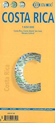 Costa Rica, mapa de carreteras plastificado. Escala 1:650.000. Borch. (Borch Map)