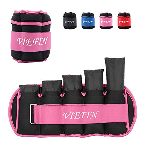VIEFIN Ankle Weights for Women, Men and Kids - Strength Training Wrist/Leg/Arm Weight Set with Adjustable Strap for Jogging, Gymnastics, Aerobics, Physical Therapy (Pink, 5lbs Each)