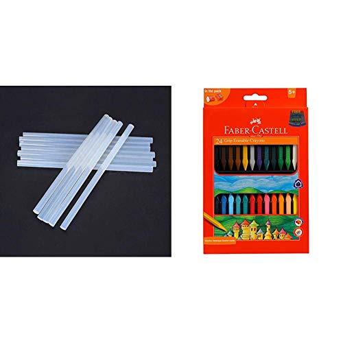 Glun 11 Mm Transparent Hot Melt 14 Glue Sticks For Diy And Craft Work & Faber-Castell Grip Erasable Crayon Set - Pack Of 24 (Assorted)