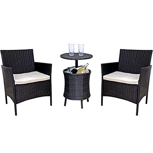 Fit4home Rattan Garden Furniture Sets Garden Table And Chairs Set of 2 Outdoor Bistro Dining Patio Balcony With Waterproof Cushions Drinks Holder | RJ6029 Black